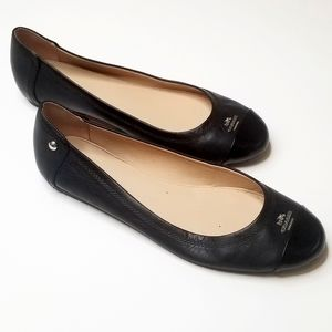 Coach Signature Logo Chelsea Leather Flat in Black